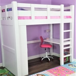 white, loft, bed, wood, wooden, quality wood furniture, farmhouse furniture