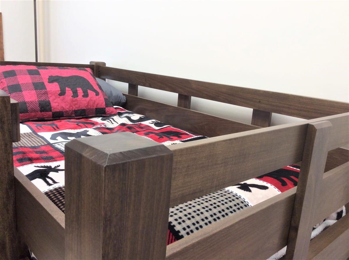 Brown, wooden, loft bed, wood, bed