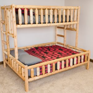 twin xl over queen log bed, quality furniture, cabin furniture