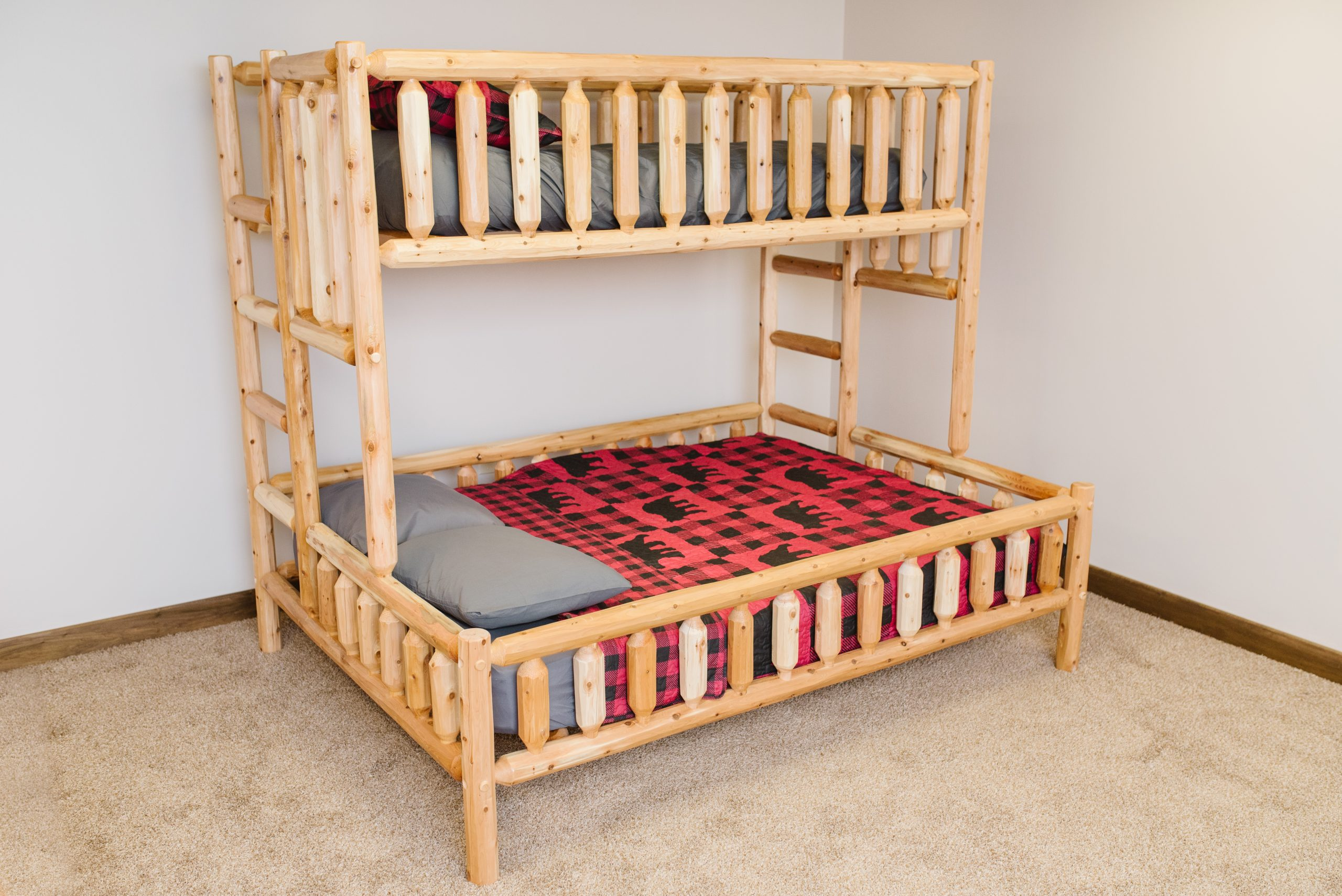 Picture of: Classic Cedar Log Bunk Bed Vision Woodwerx